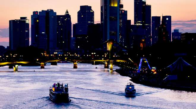 Boats on the river Main in Frankfurt, Germany