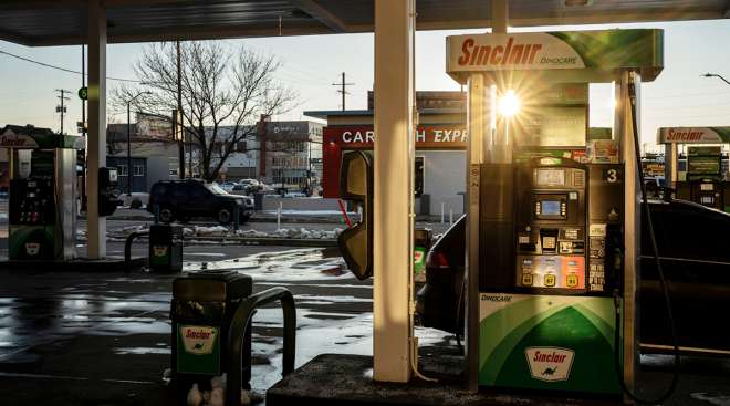 A fuel pump at a Sinclair Oil Corp. gas station in Denver