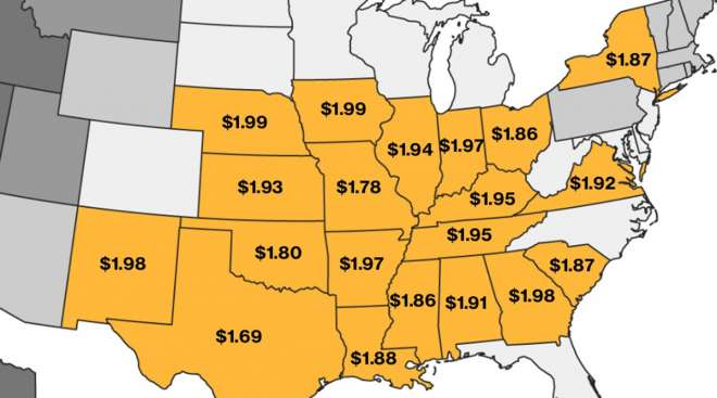 Map showing states where gas can be found for less than $2 a gallon