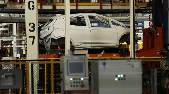A Chevrolet Bolt vehicle sits on the assembly line at GM's plant in Orion Township, Mich.