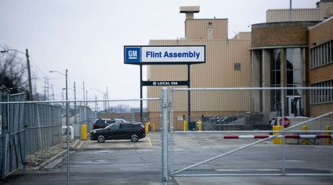 The GM Flint Assembly plant in Flint, Mich., on March 23.