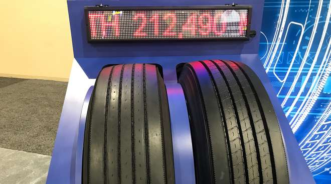 The actual Goodyear Endurance LHS that ran 212,490 miles (left) is shown with a new Endurance LHS.