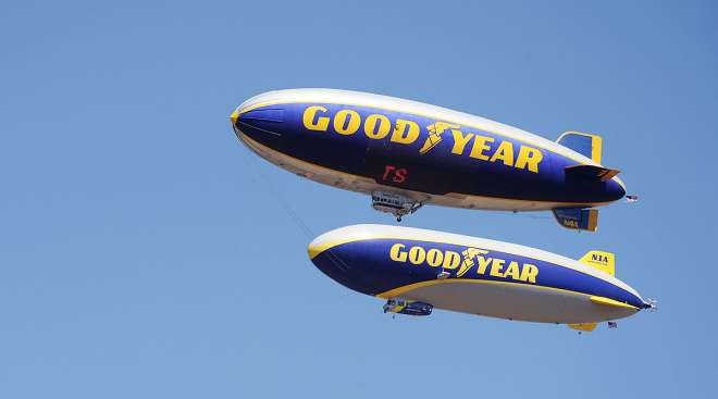 Two Goodyear blimps