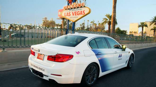A BMW vehicle outfitted with Motional technology drives in Las Vegas, where the venture is partnered with Lyft.