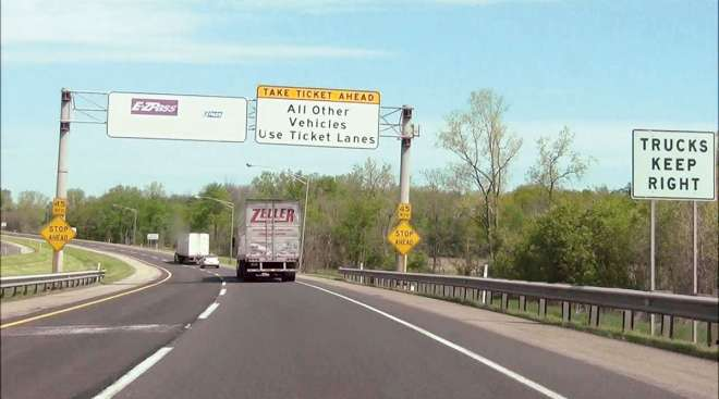 A truck travels Indiana Toll Road