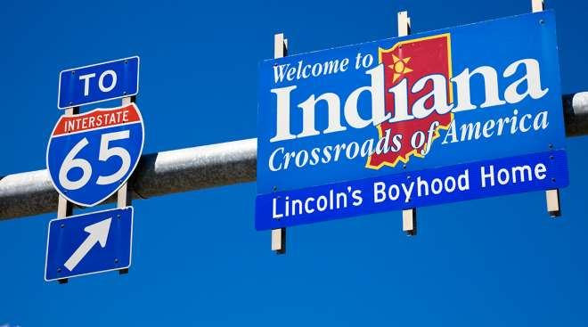 Interstate 65 and State of Indiana sign