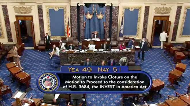 U.S. Senate chamber after the failed infrastructure test vote
