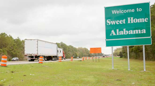 Truck entering Alabama
