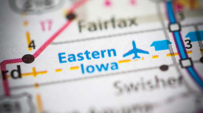 Map showing Eastern Iowa Airport