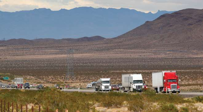 Trucks on a scenic highway