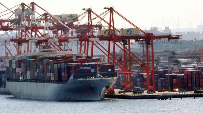 Containership docked in Toyko