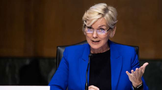 Former Michigan Gov. Jennifer Granholm appears before the Senate Energy and Natural Resources Committee.