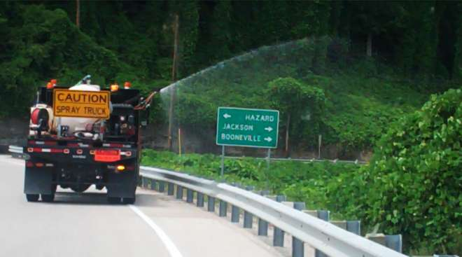 Spraying for weeds along Kentucky road