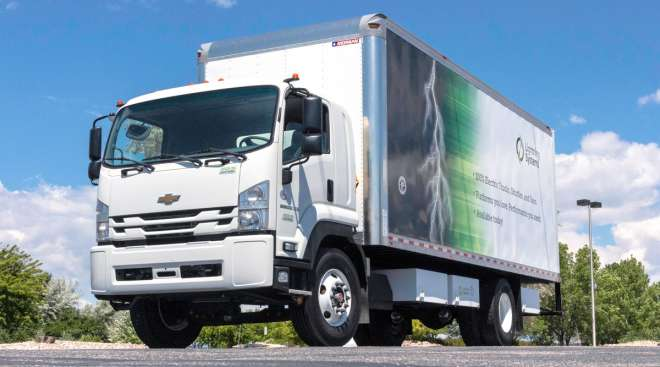 Lightning EMotors offers an electric powertrain on a Chevrolet 6500XD Low Cab Forward Class 6 truck.