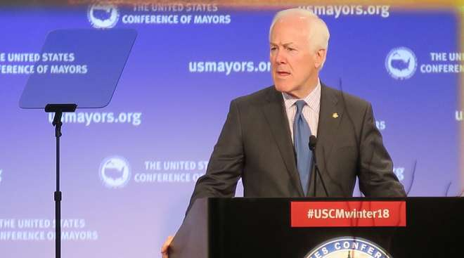 Sen. John Cornyn (R-Texas) the U.S. Conference of Mayors winter meeting.