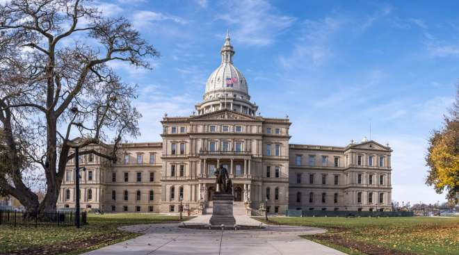 The Michigan State Capitol Building in Lansing, Mich.
