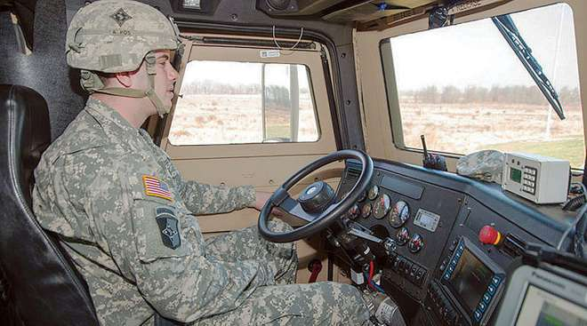 Soldier driving a truck