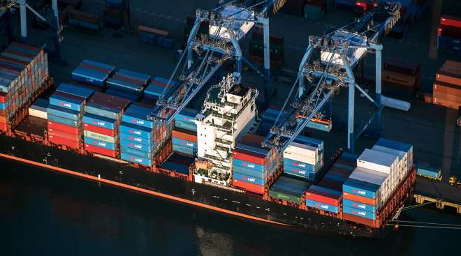 Containership docked in British Columbia