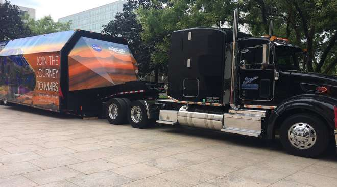 Shomotion truck with Mars rover replica trailer