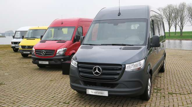 New Sprinter next to its predecessors.
