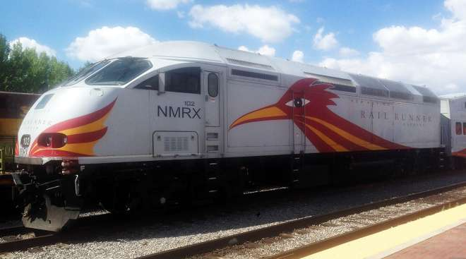 New Mexico Rail Runner Express locomotive stands at the depot in Santa Fe, N.M.