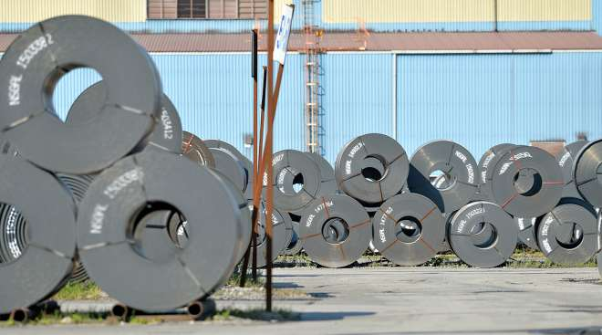 Steel at a Nucor plant