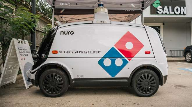 A Nuro self-driving delivery vehicle