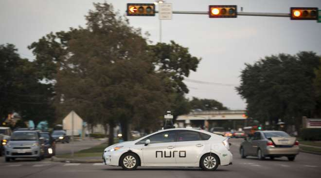 A Nuro delivery vehicle completes training routes in Texas in November 2019.