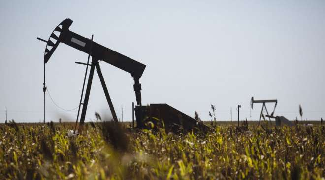 A pump jack operates in Kansas on Sept. 25.