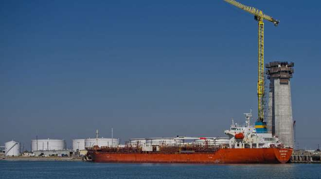 An oil and chemical tanker sits at the Port of Corpus Christi in Texas on Feb. 19. (Eddie Seal/Bloomberg News)