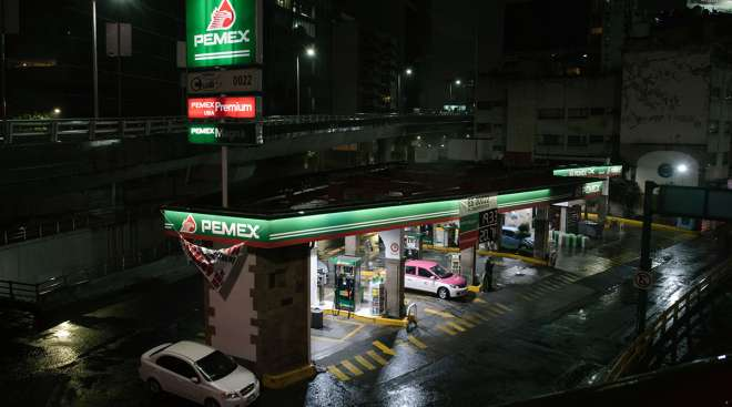 A Petroleos Mexicanos gas station stands in Mexico City