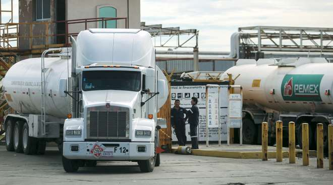 Tanker trucks at storage and dispatch terminal of Petroleos Mexicanos