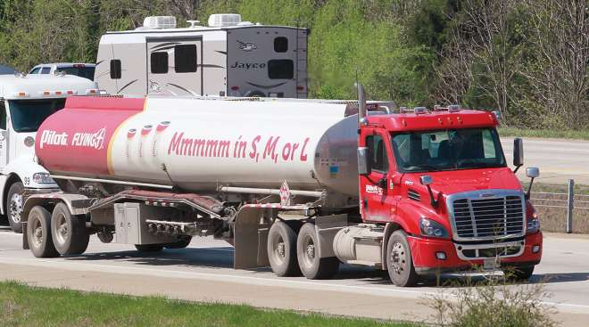 Pilot tanker truck on the road