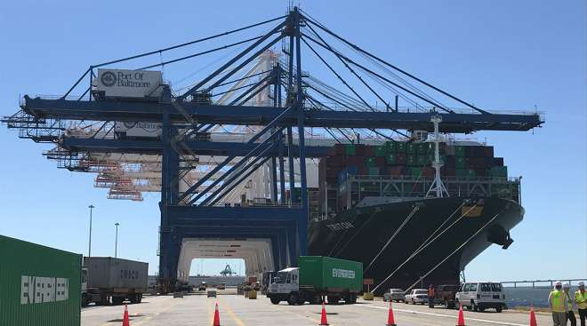 Evergreen Line's containership Triton at the Port of Baltimore