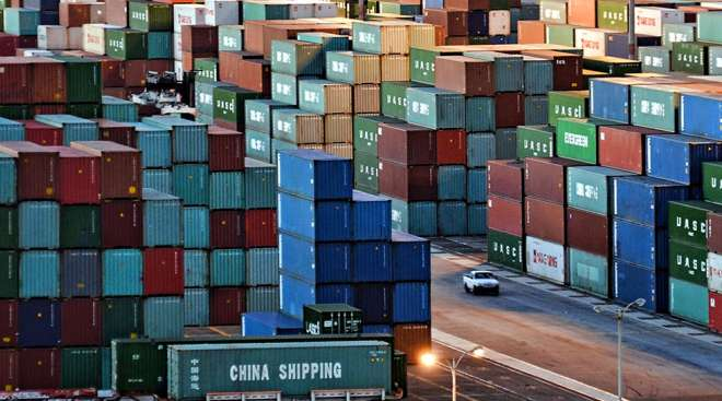 Containers stacked at the Port of Los Angeles