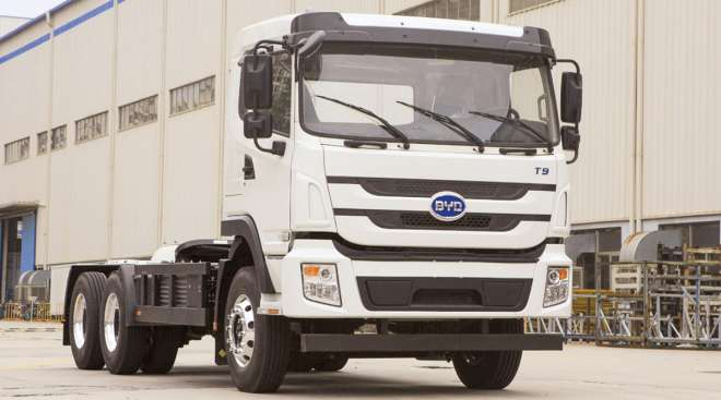 A BYD battery-electric truck