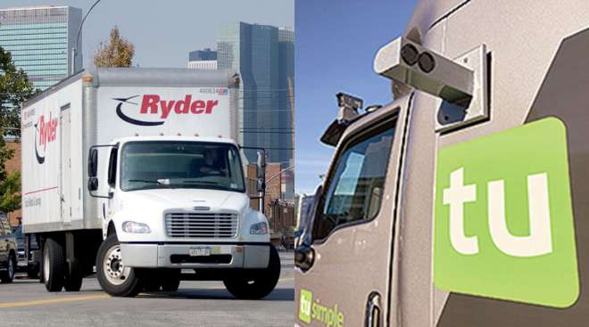 Ryder and TuSimple trucks