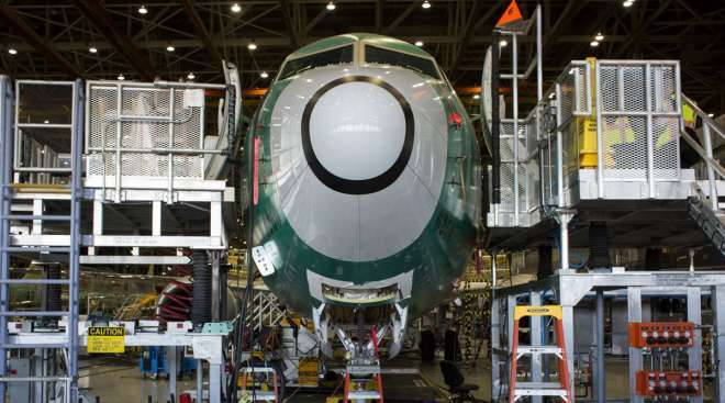 The nose of a Boeing 737 Max 9 jetliner sits during production.
