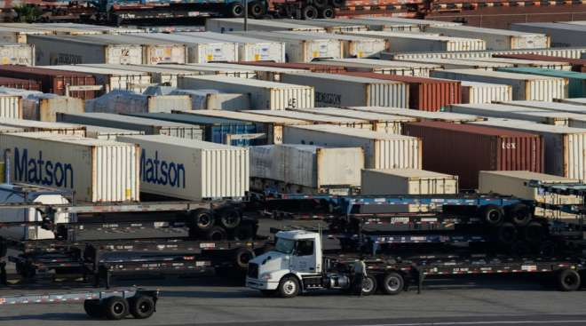 Shipping containers sit at the Port of Long Beach in California in March 2021. (Bing Guan/Bloomberg News)