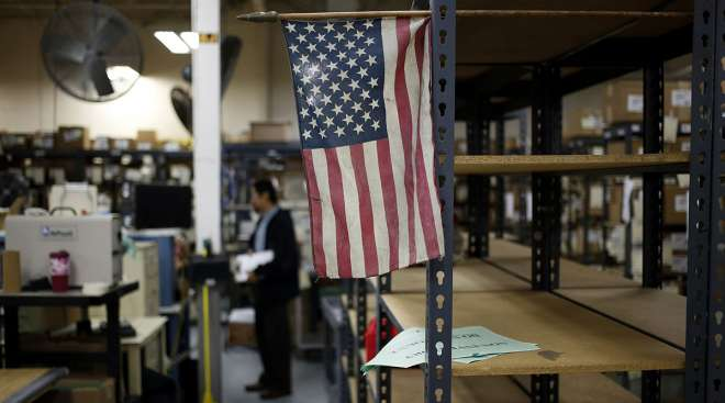 American flag at a manufacturing facility in Bowling Green, Ky.