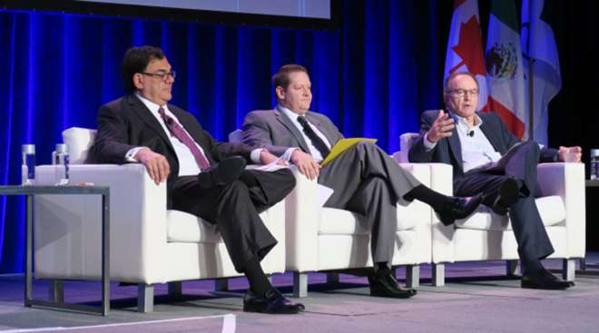 From right: Jack Welch of YRC Worldwide, Jason Hess of Union Pacific, Ted Prince of Tiger Cool Express