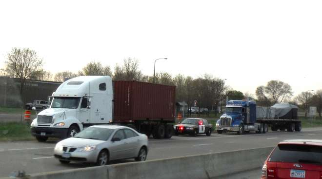 Trucked pulled over on US-52 at Plato in St. Paul, Minn.