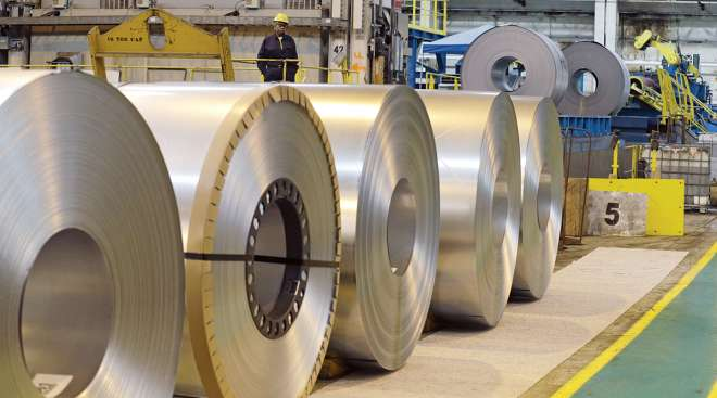 Steel coils sit at an Ohio factory