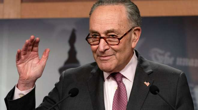 Senate Majority Leader Chuck Schumer speaks to the media on Capitol Hill on March 2. (Jacquelyn Martin/Associated Press)