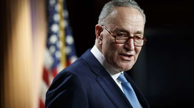 Senate Minority Leader Chuck Schumer speaks during a news conference at the Capitol on Jan. 6.