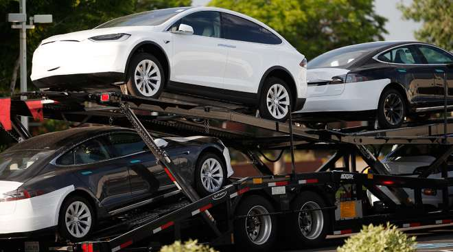 Teslas on a car carrier