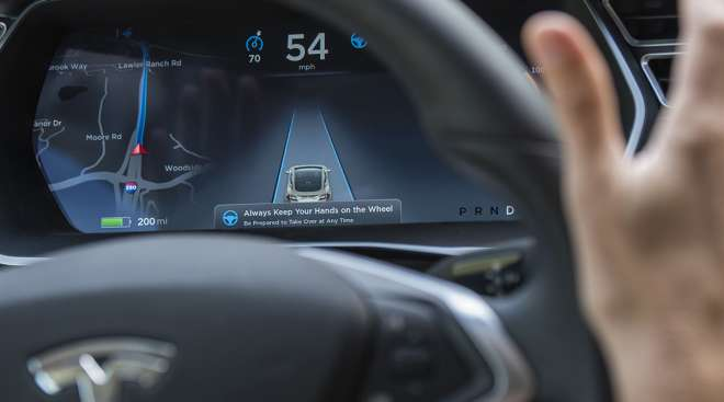 The dashboard of a Tesla Model S car equipped with Autopilot