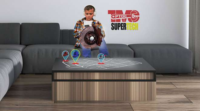 Child playing TMCSuperTech: The Game