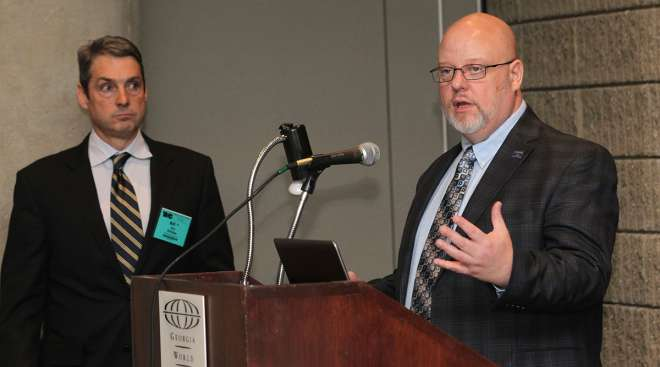 Bill Ellis (left), Gerry Mead of Phillips Connect Technologies