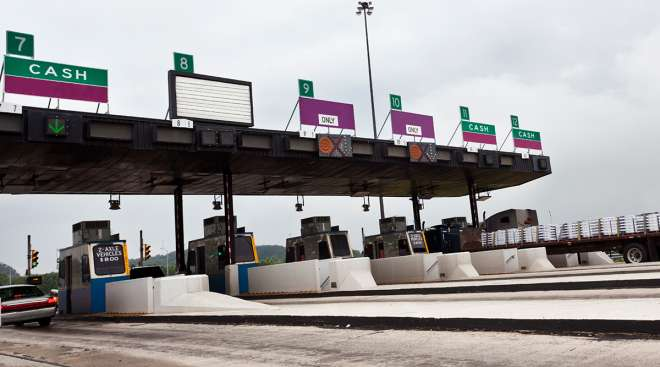 A toll plaza on the New Jersey Turnpike